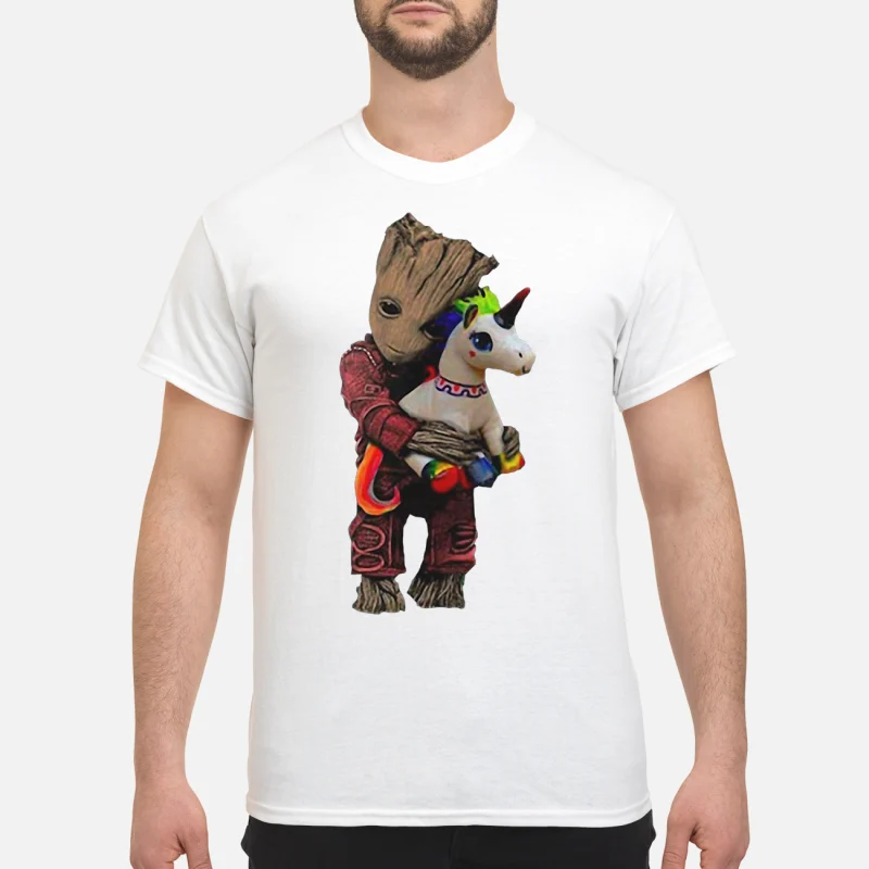 Baby Groot hug unicorn shirt