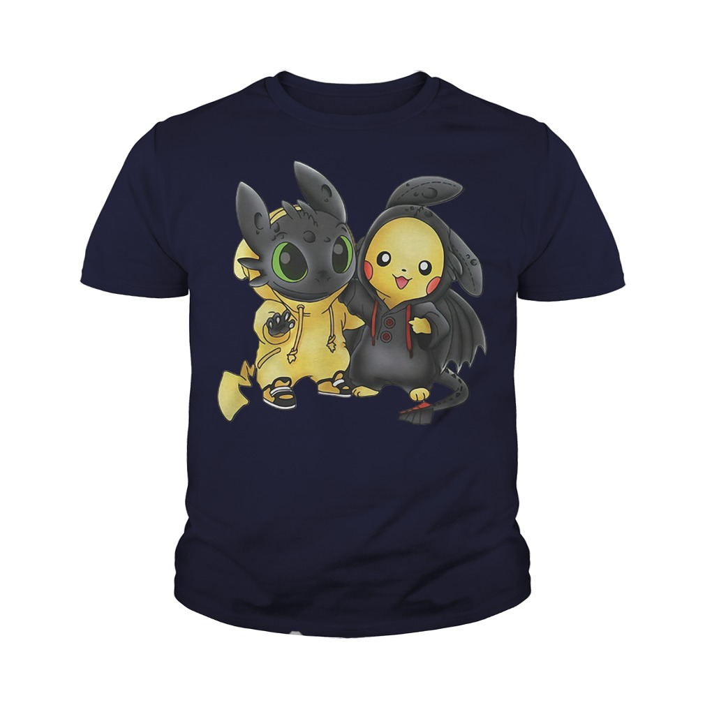 Baby Toothless and Pikachu youth tee