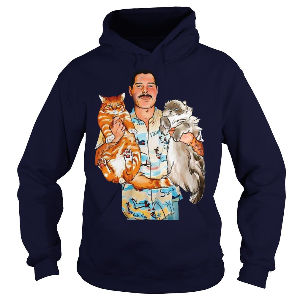 Freddie Mercury with his cats hoodie