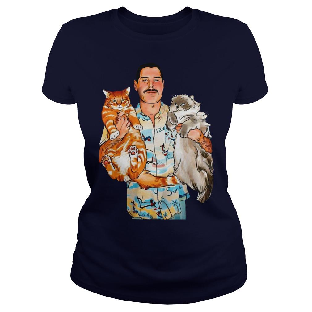 Freddie Mercury with his cats ladies tee