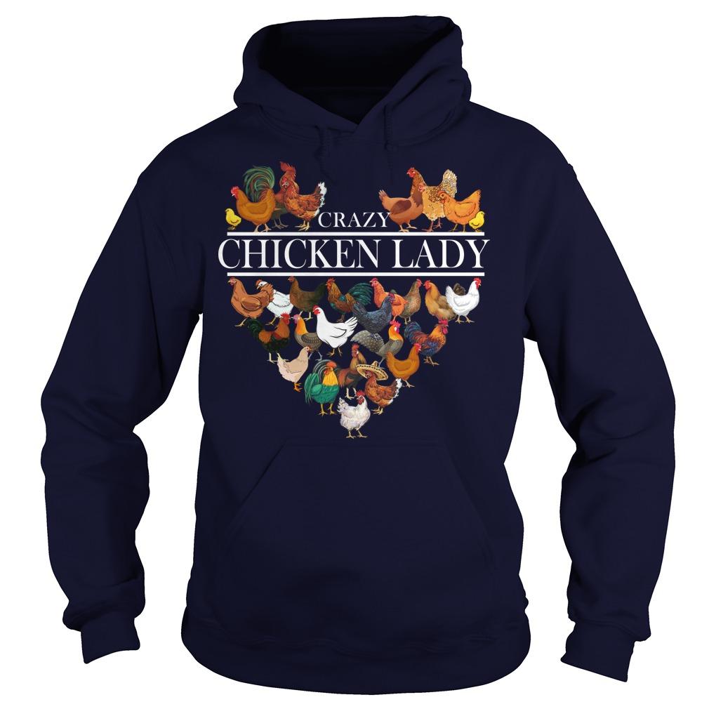 Heart crazy chicken lady hoodie