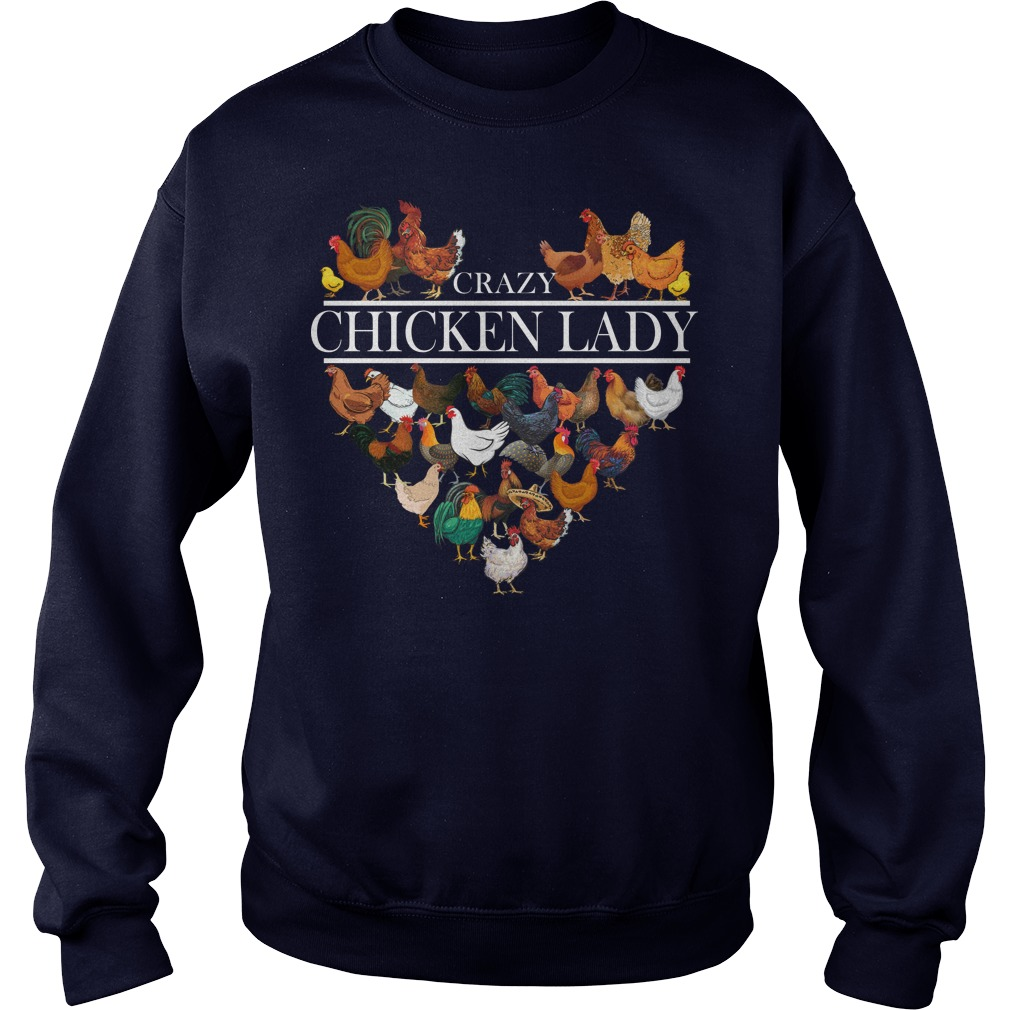 Heart crazy chicken lady sweater