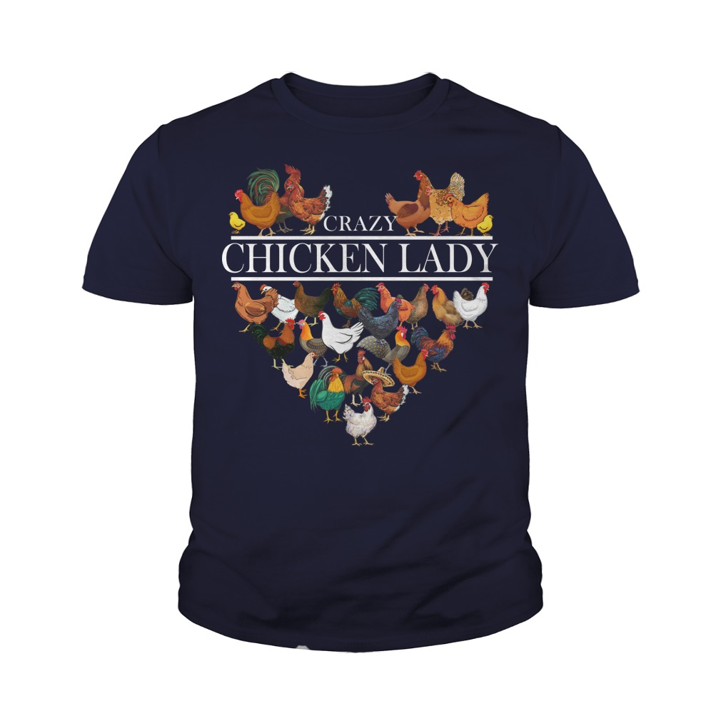 Heart crazy chicken lady youth tee