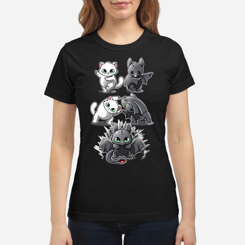 How to Train Your Dragon cat fusion bat Toothless ladies tee