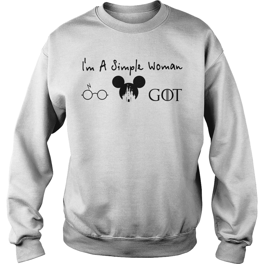 I'm a simple woman like Harry Potter disney Mickey and game of thrones sweater