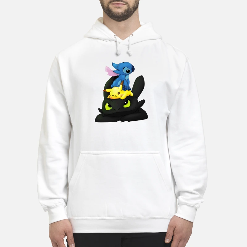 Stitch, Pikachu and Toothless hoodie