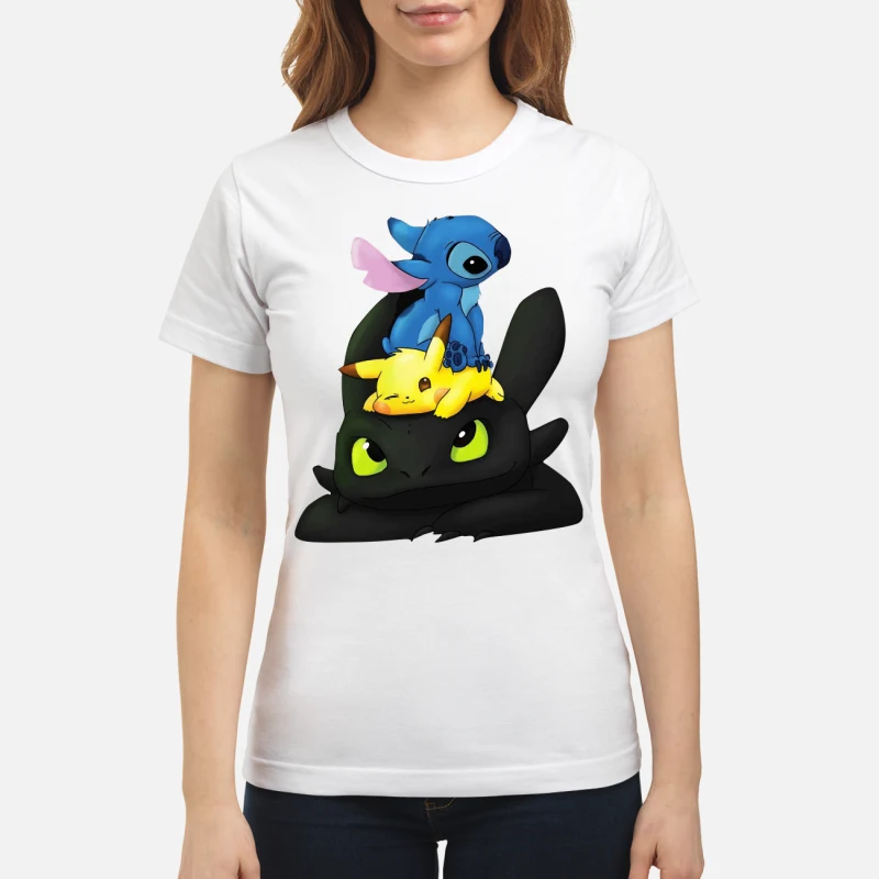 Stitch, Pikachu and Toothless ladies tee