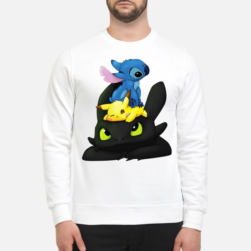 Stitch, Pikachu and Toothless sweater