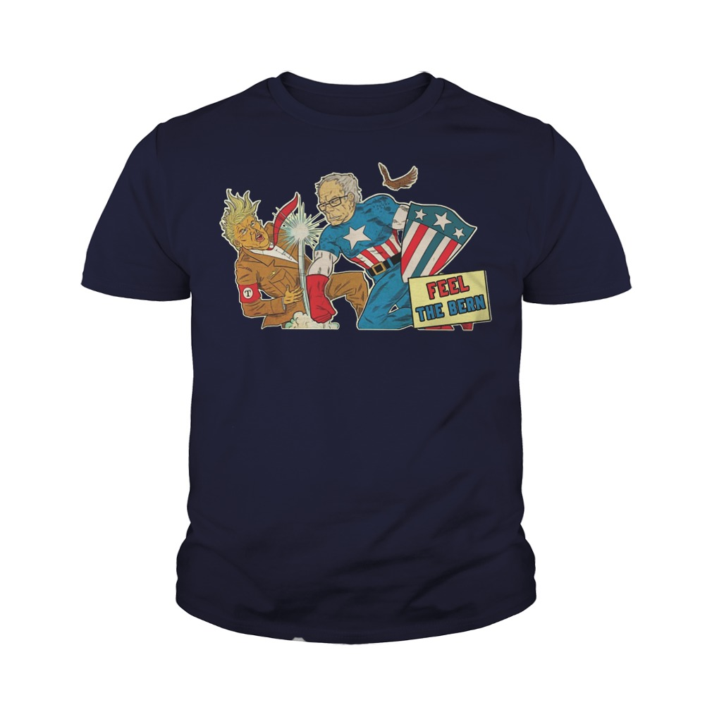 Bernie Sanders Captain America punch Donald Trump feel the bern youth tee