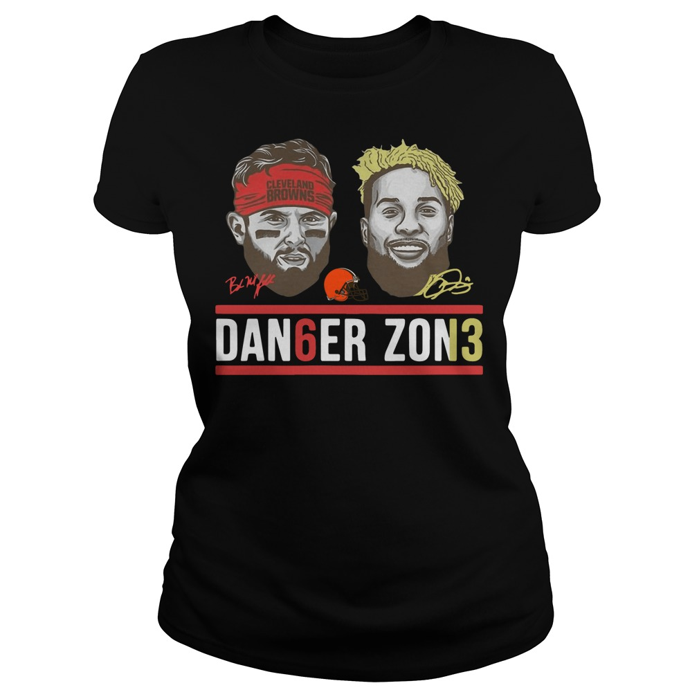 Danger zone 6 Baker Mayfield 13 Cleveland Browns signature ladies tee