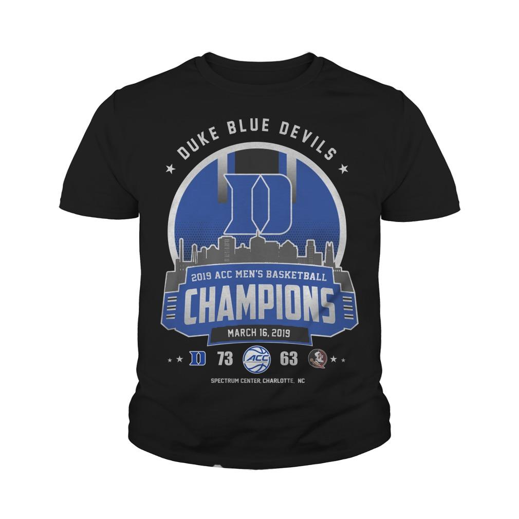Duke blue devils 2019 acc men's basketball champion youth tee