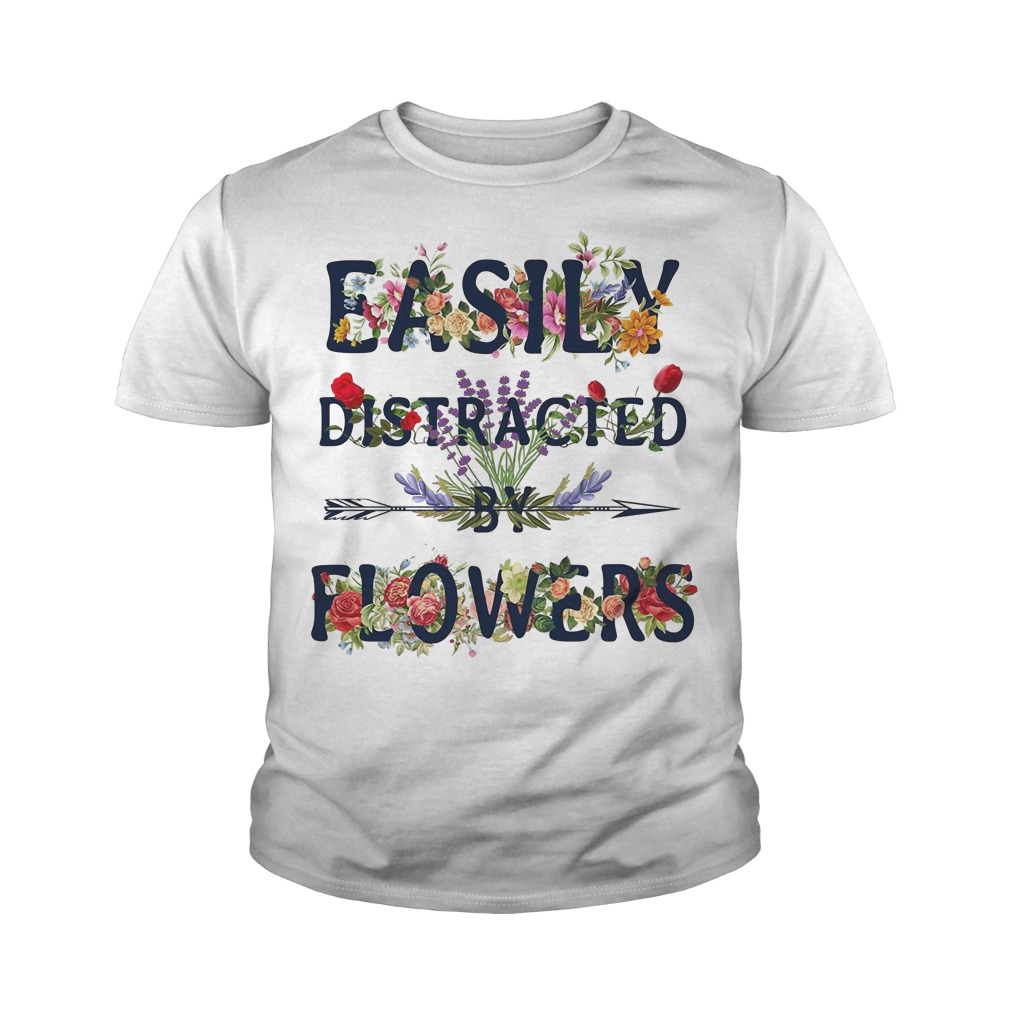 Easily distracted by flowers youth tee
