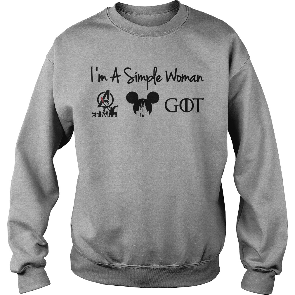 I'm a simple woman Avengers Disney and Game Of Thrones sweater