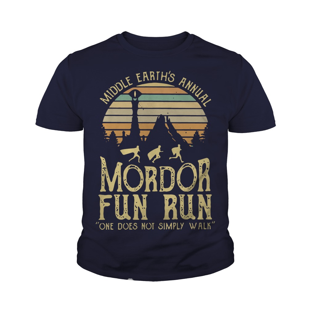 Middle Earth's Annual Mordor Fun Run One Does Not Simply Walk Sunset youth tee