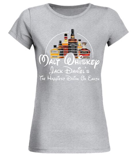 Disney Malt Whiskey Jack Daniel's the happiest drink on earth ladies tee