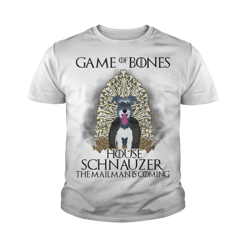 Game of Bones house Schnauzer the mailman is coming youth tee