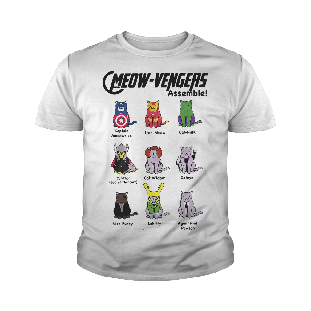 Marvel Cats Meow-avengers assemble youth tee