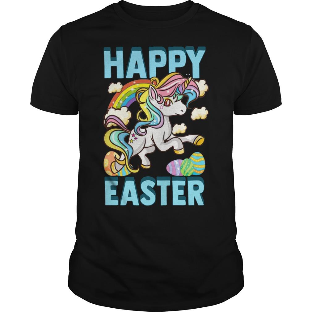 Unicorn rainbow eggs happy Easter shirt