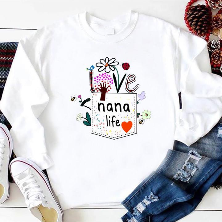 Pocket Womens Love Nana Life Bird Flower Art shirt