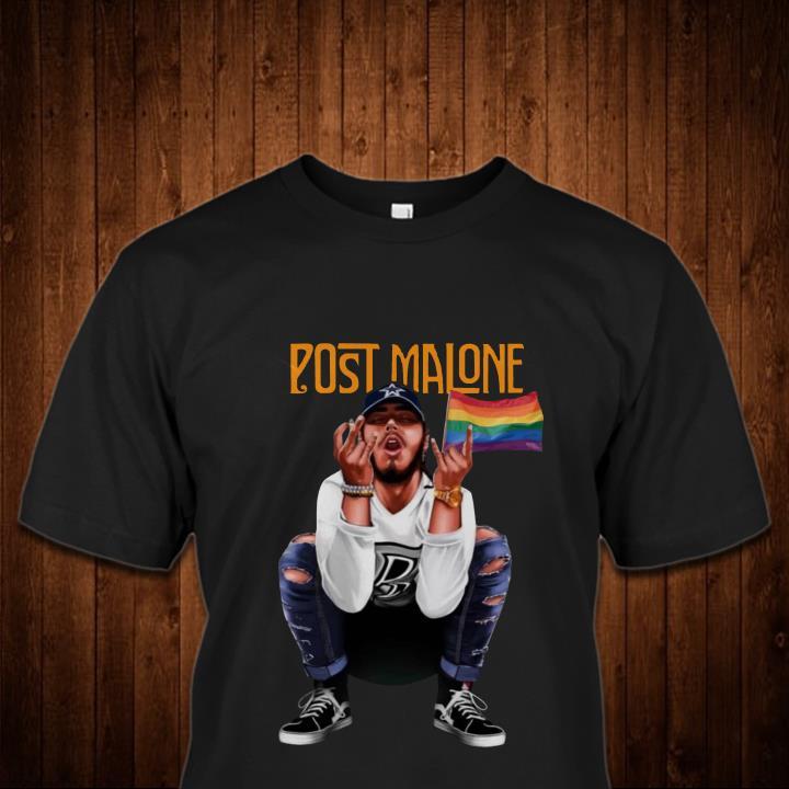 Post Malone American Rapper and LGBT Flag Shirt