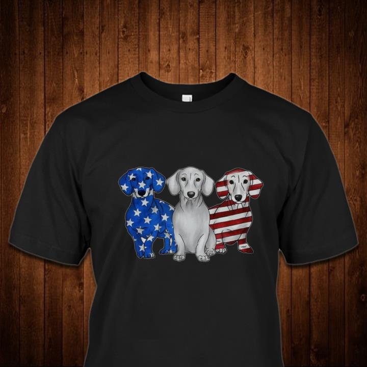 Red White and Blue Dachshund American Flag Shirt