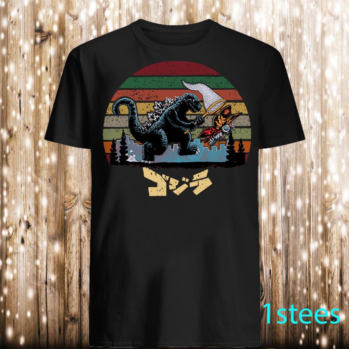 Godzilla Catching Kaiju Vintage Shirt