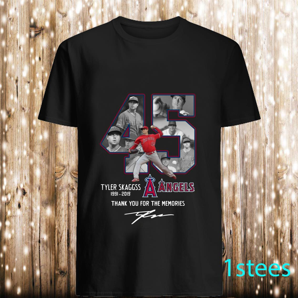 Allbluea Angels 45 Tyler Skaggs 1991 2019 Thank You for The Memories Shirt