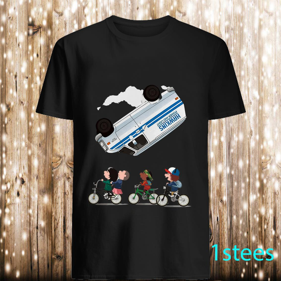Stranger things Eleven Flip Over The Van Hawkins Power And Light Shirt