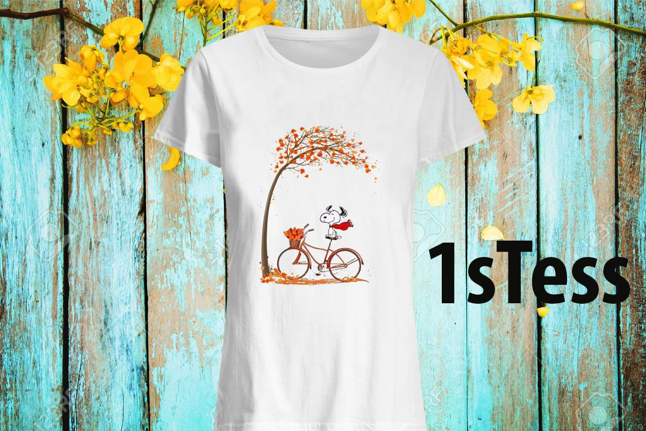 Snoopy Ride Bike Under Autumn Tree Women's T-Shirt