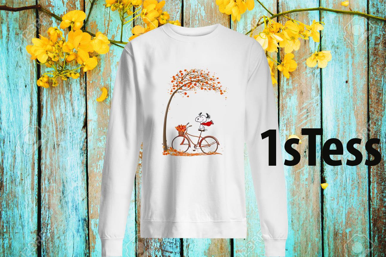 Snoopy Ride Bike Under Autumn Tree Sweatshirt