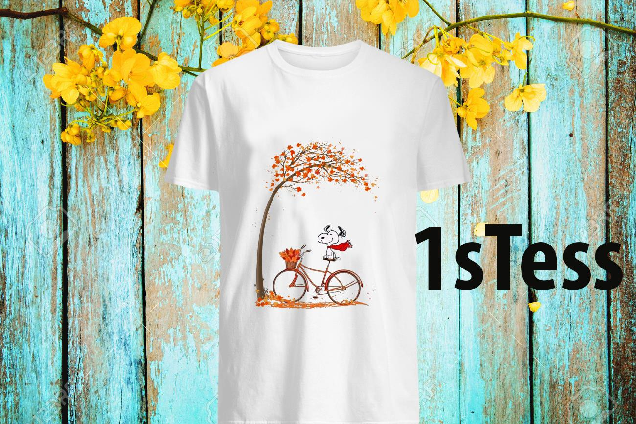 Snoopy Ride Bike Under Autumn Tree Shirt