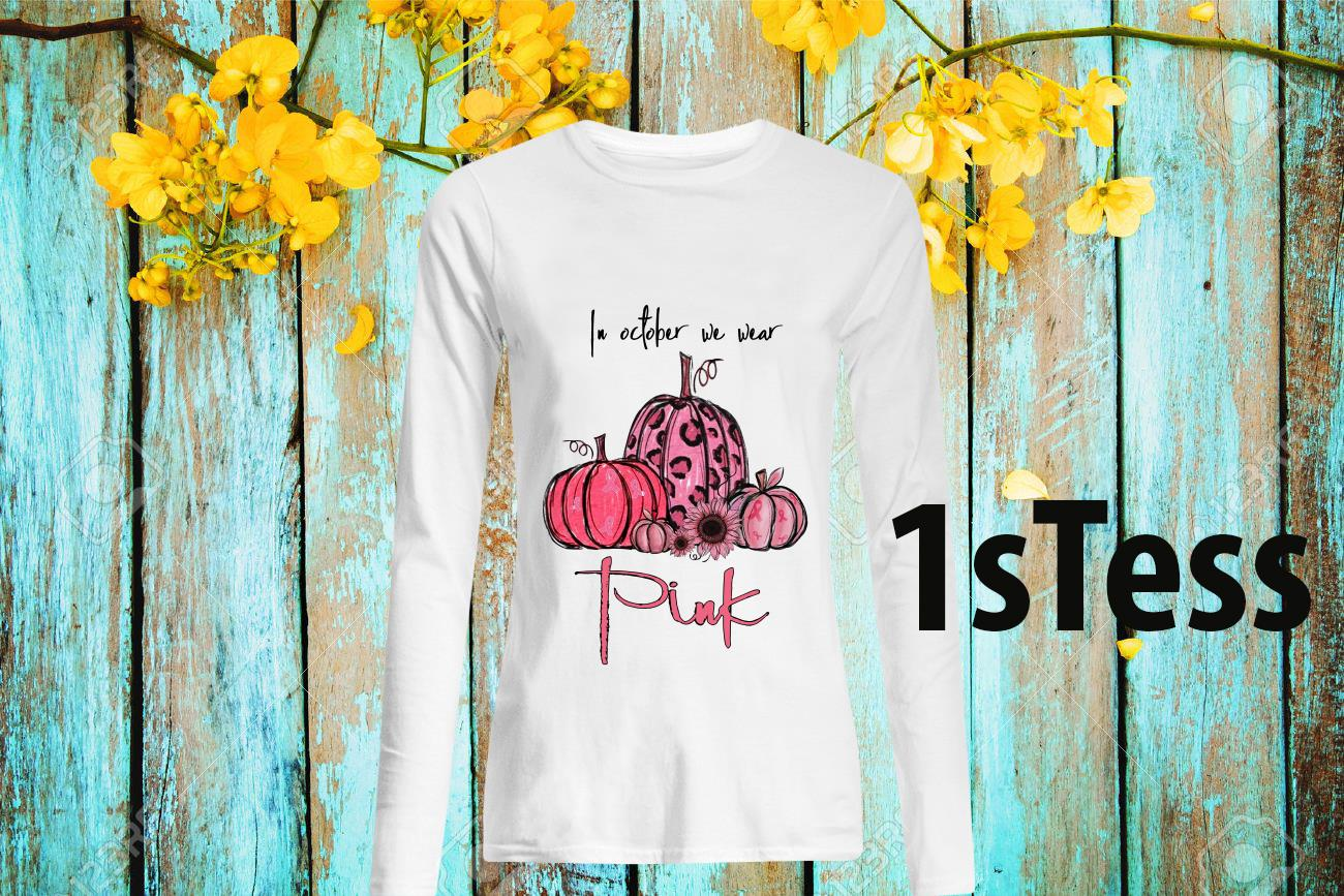 Pumpkin and Flower Pink In October We Wear Halloween Shirt