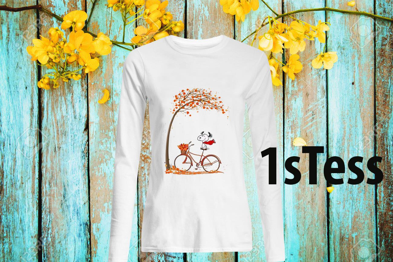 Snoopy Ride Bike Under Autumn Tree Long- Sleeved