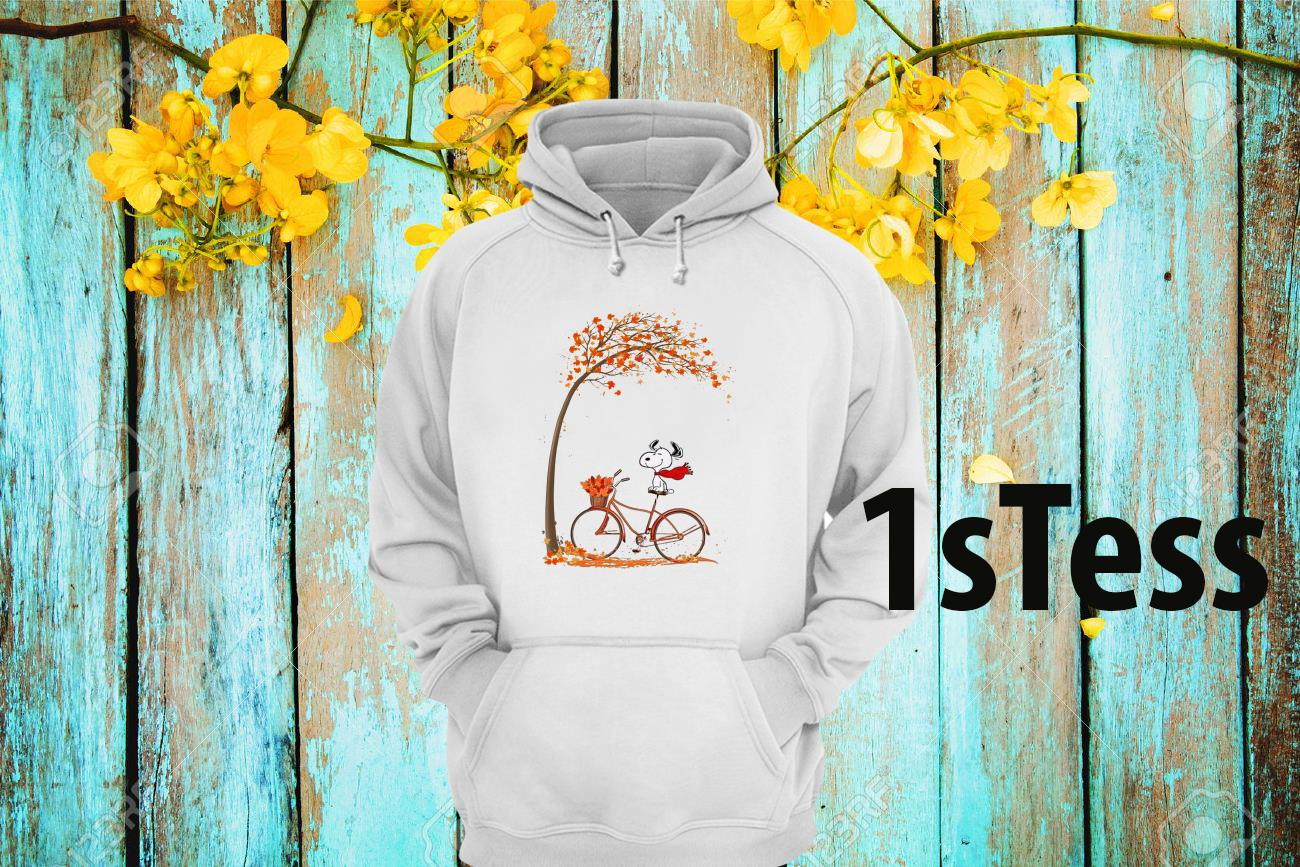 Snoopy Ride Bike Under Autumn Tree Hoodie