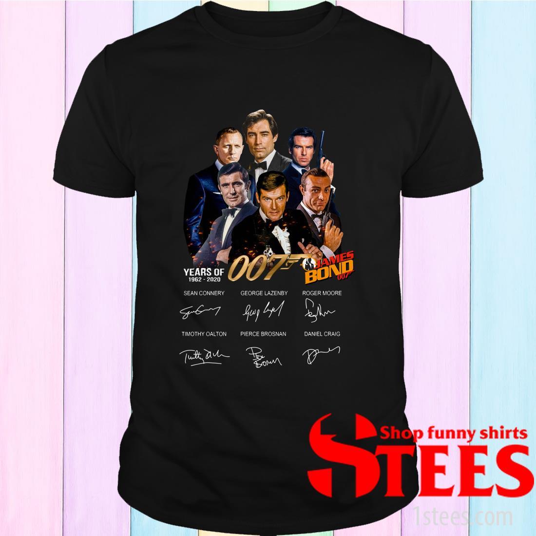 James Bond 50 Years Of 007 1962-2020 Signatures Shirt