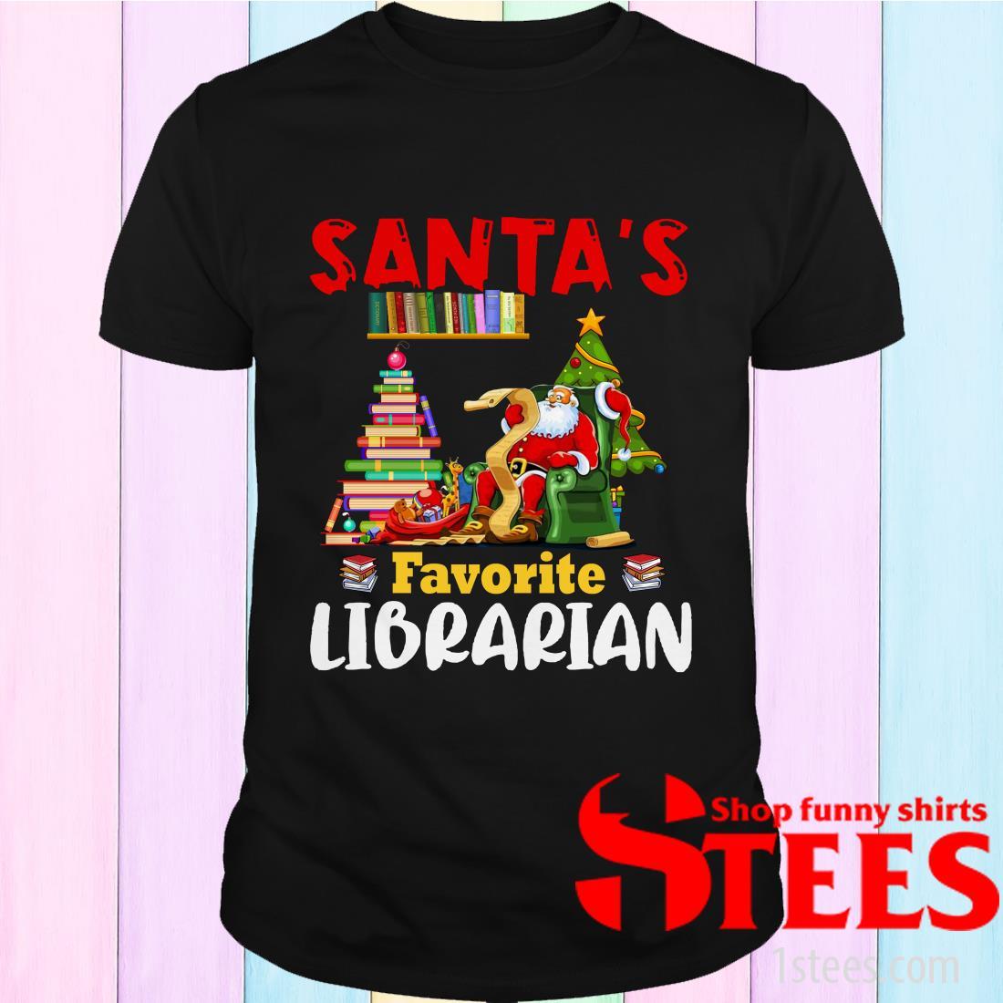Santa's Favorite Librarian Christmas Book Lovers Sweatshirt