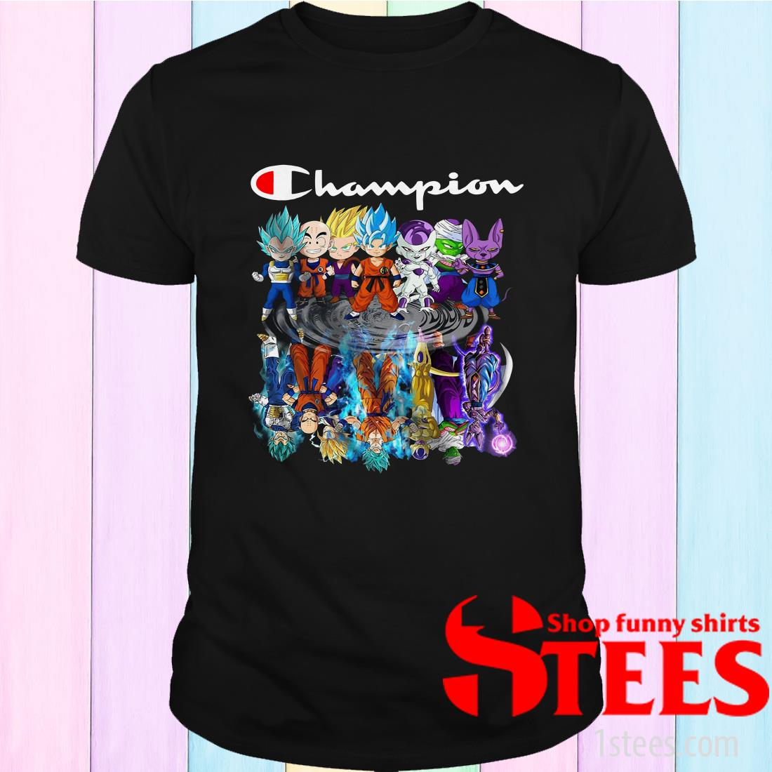 Champion Dragon Ball Characters Chibi Water Reflection Shirt
