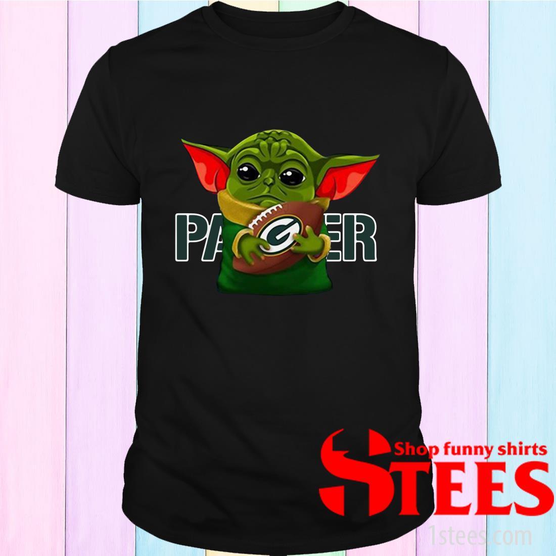 Star Wars Baby Yoda Hug Packer Football Shirt