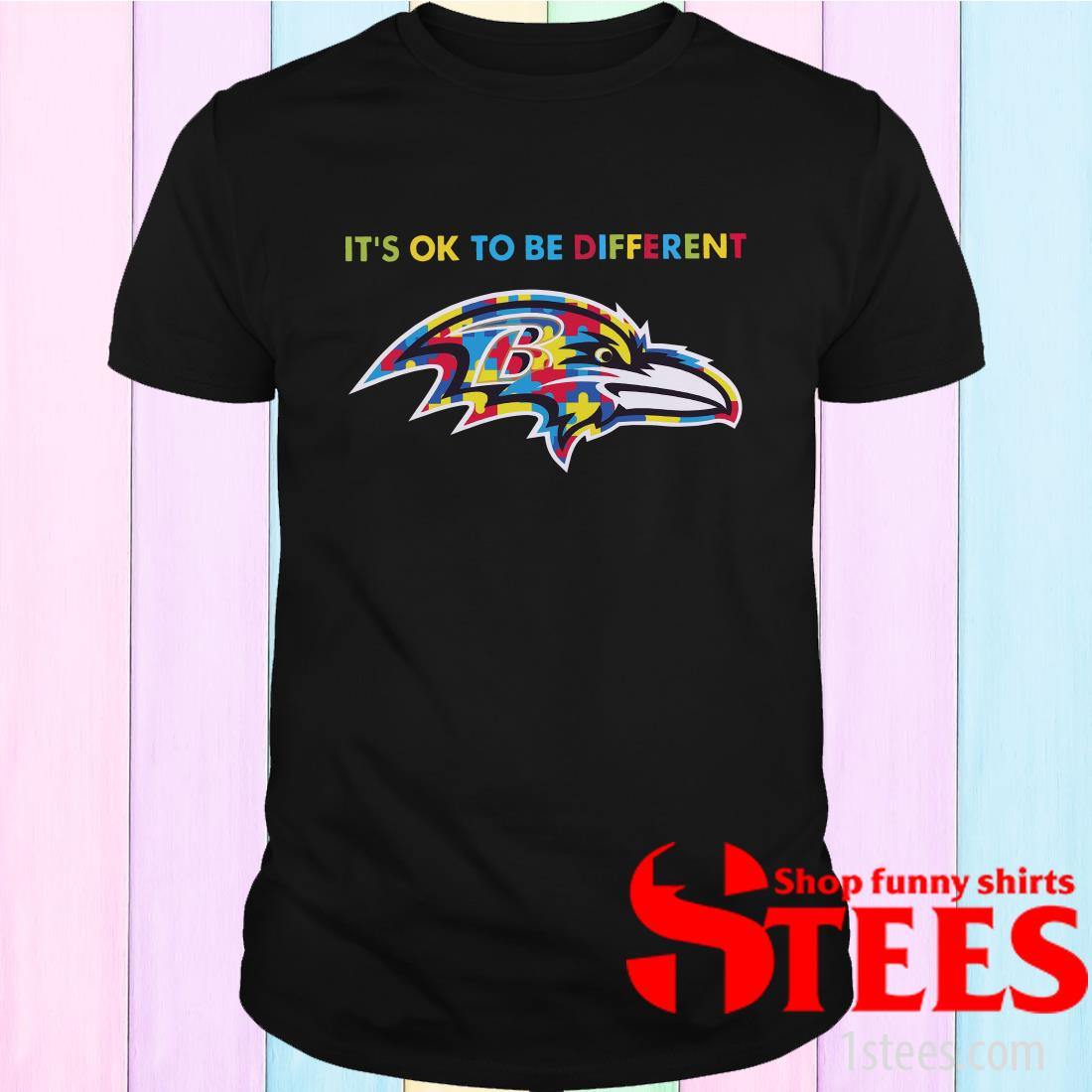 Baltimore Ravens Autism It's Ok To Be Different Shirt