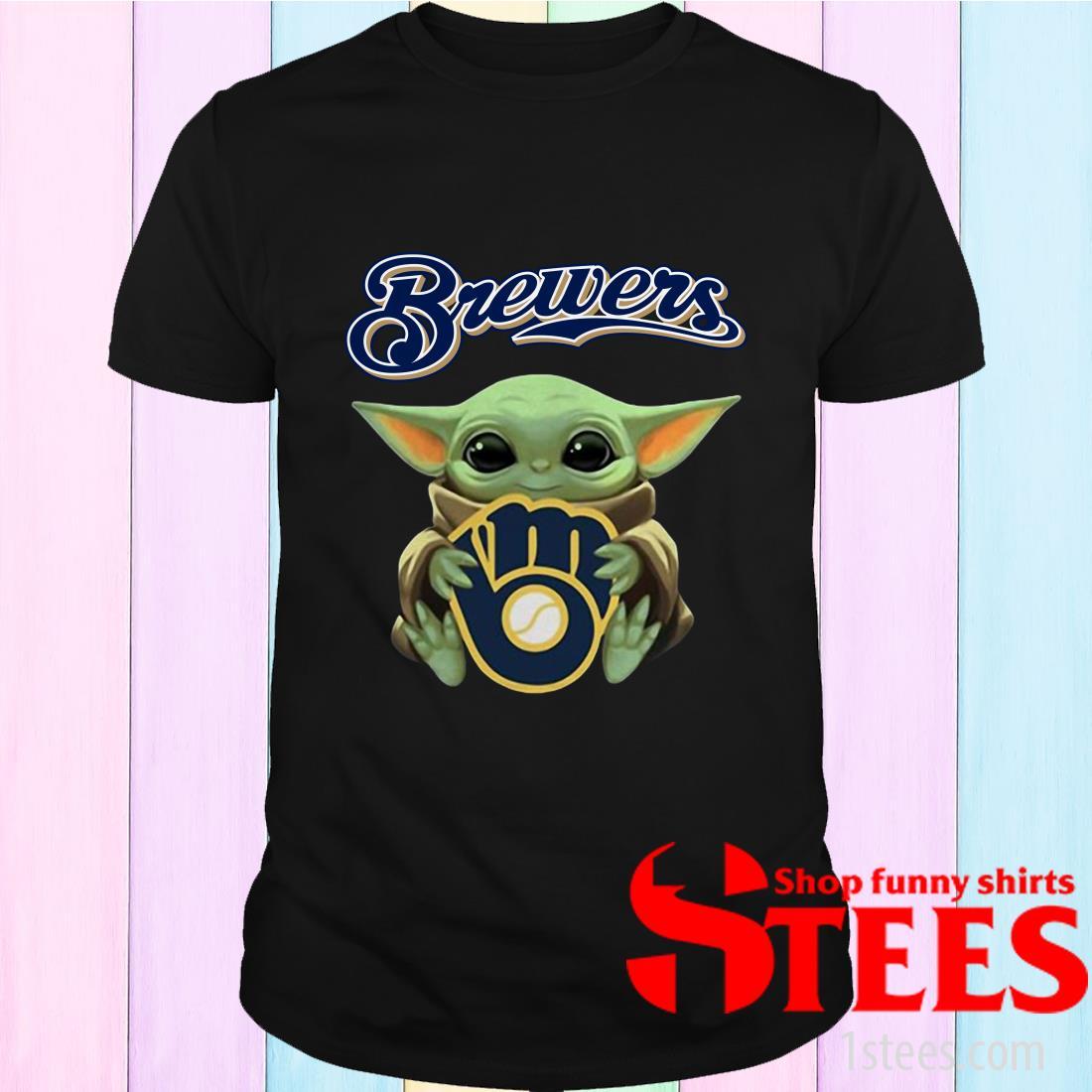 Baby Yoda Hug Milwaukee Brewers Shirt