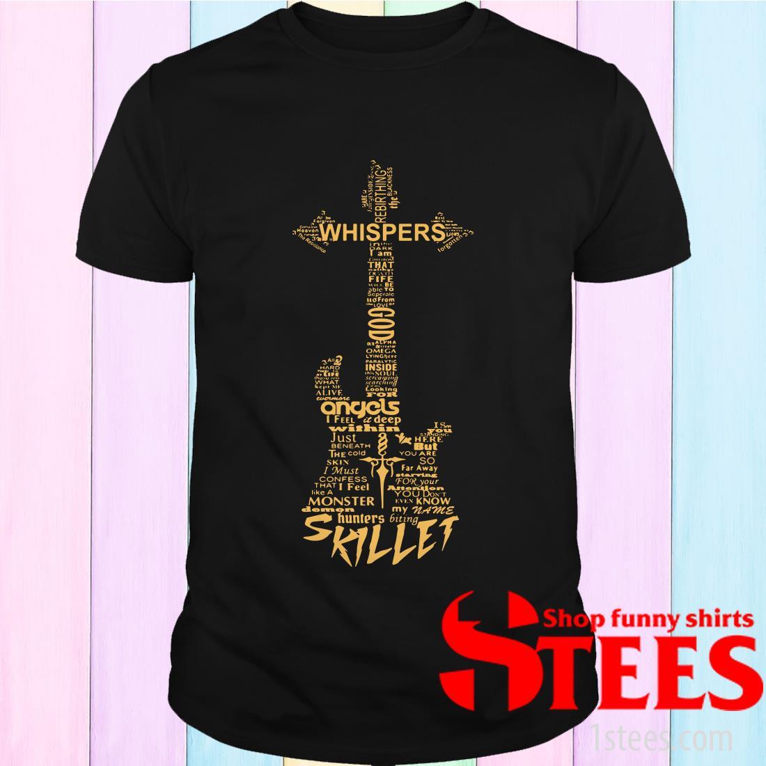Whispers God Angles Skillet Band Christ Guitar Shirt