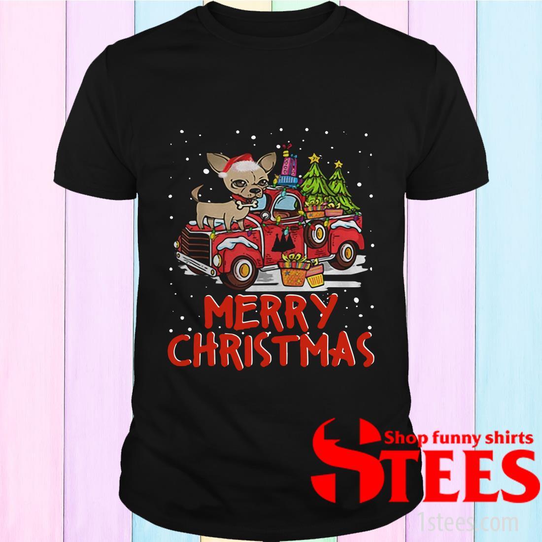 Chihuahua Rides Red Truck Merry Christmas Pajama Sweatshirt