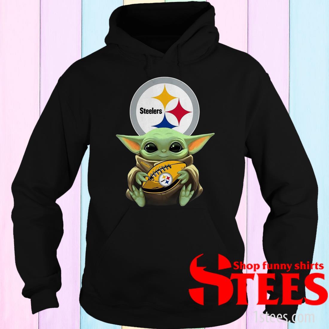 Baby Yoda Hugging Pittsburgh Steelers Shirt