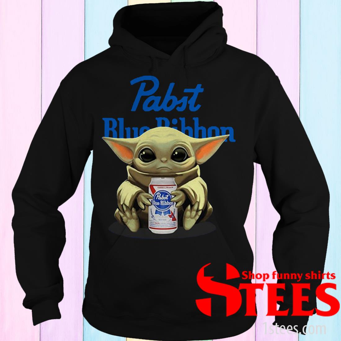Star Wars Baby Yoda hug Pabst Blue Ribbon Beer Tee Shirt
