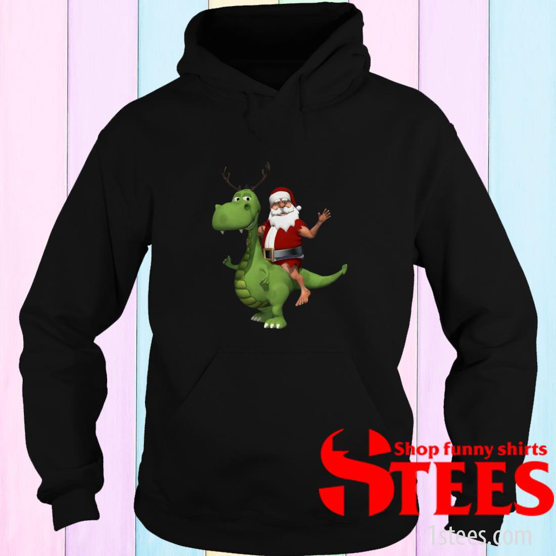 Santa Riding T Rex Dinosaur Reindeer Christmas Sweatshirt