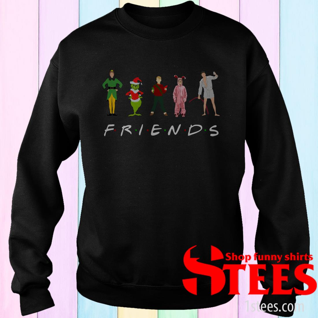 Eletees Elf Grinch Clark Griswold Kevin Christmas Character Friends Sweatshirt