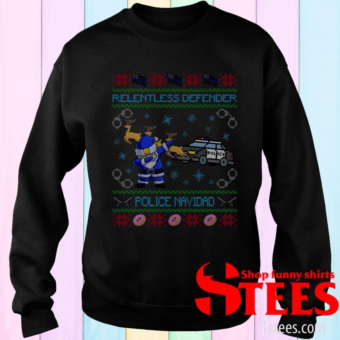 Police Santa Dabbing Relentless Defender Police Navidad Ugly Christmas Sweatshirt