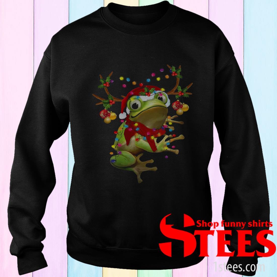 Santa Frog Reindeer Light Christmas Sweatshirt