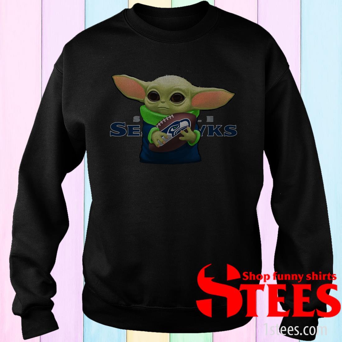Baby Yoda Hung Seattle Seahawks Shirt