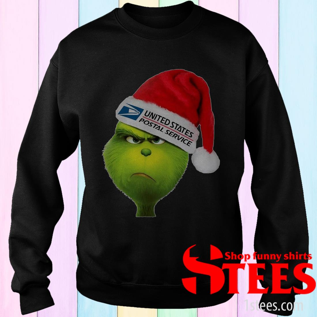 United States Postal Service Grinch Santa Hat Christmas Sweatshirt